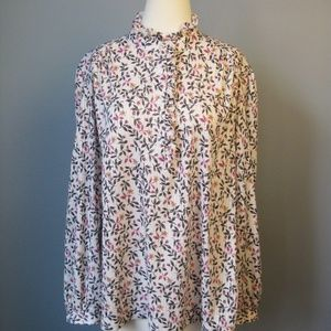 Vintage 1970s Ruffled Floral Blouse Colonial